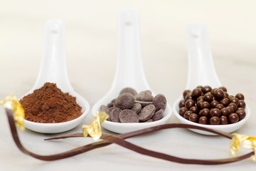 cocoa powder, chocolate drop and pralines with chocolate garnish