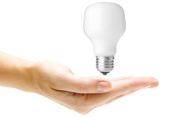 Energy saving light bulb in hand