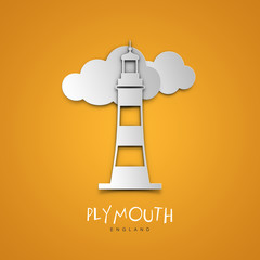 Plymouth, England. Yellow greeting card.