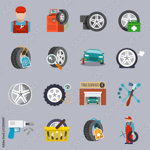 Tire service icon flat - 73800447