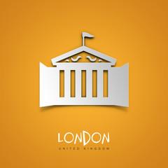 London, United Kingdom. Yellow greeting card.
