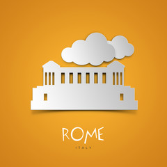 Rome, Italy. Yellow greeting card.