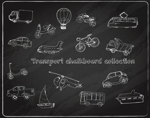 Transport doodle set chalkboard