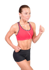 sport and lifestyle concept - woman doing sports. Woman running