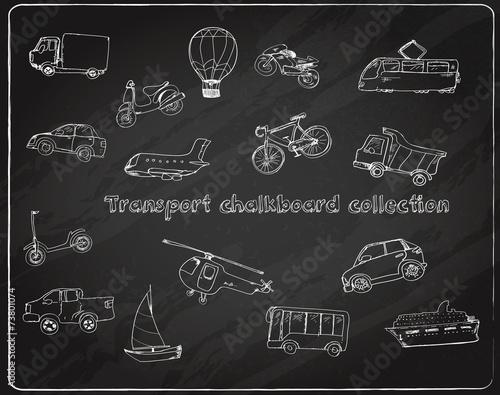 Transport doodle set chalkboard - 73801074
