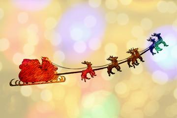 Greeting card Santa Claus sleight