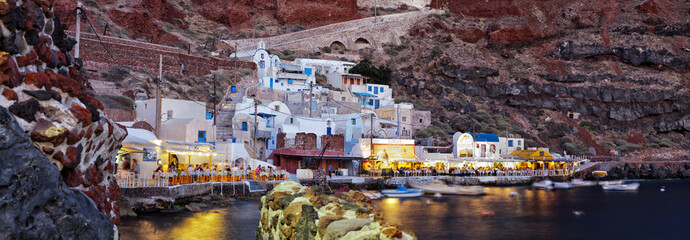 Night shot of Ammoudi Bay. Big panorama.Santorini-
