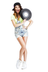 Funny Artistic Entertainer with Retro Vinyl Record