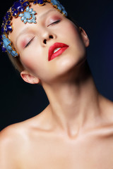 Dream. Styled Woman with Blue Diadem