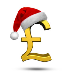 Christmas Concept of British Pound with Santa Hat