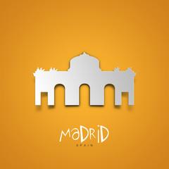 Madrid, Spain. Yellow greeting card.