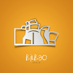 Bilbao, Spain. Yellow greeting card.