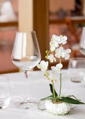detail of elegant restaurant table