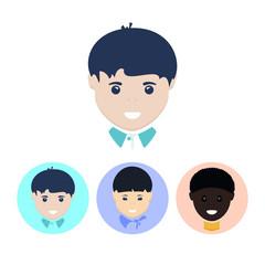 Set icons with   european boy,asian boy, african american boy