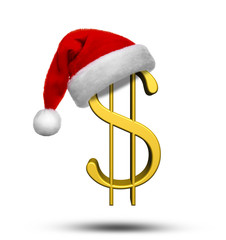 Christmas Concept of USD with Santa Hat On