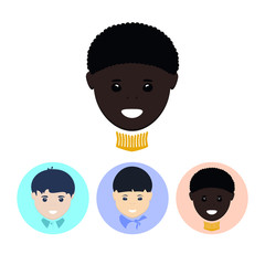 Set icons with   european boy,asian boy, african american boy