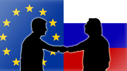 Verhandlungen Handschlag - Europa mit Russland - 16 zu 9 - g2638