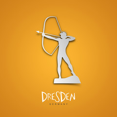 Dresden, Germany. Yellow greeting card.