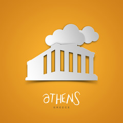 Landmarks illustrations. Athens, Greece. Yellow greeting card.