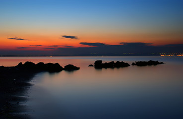 pure sea at blue hour