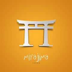 Landmarks illustrations. Miyajima, Japan. Yellow greeting card.