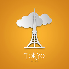 Landmarks illustrations. Tokyo, Japan. Yellow greeting card.