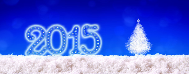 New Year 2015 background and white snow.