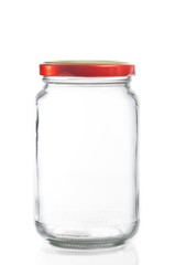 closed empty glass jar isolated