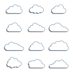 different clouds with 3d effect