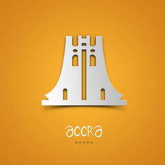 Landmarks illustrations. Accra, Ghana. Yellow greeting card.