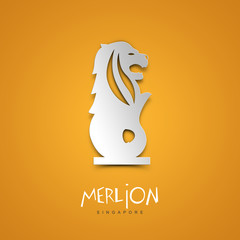 Merlion, Singapore. Yellow greeting card.