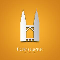 Kuala Lumpur, Malaysia. Yellow greeting card.