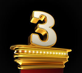 Number Three on golden platform over black background