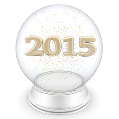 2015 year is in a transparent ball. Isolated 3D image