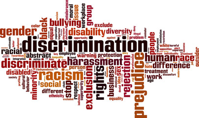 Discrimination word cloud concept. Vector illustration