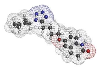 Cilostazol intermittent claudication treatment drug molecule.