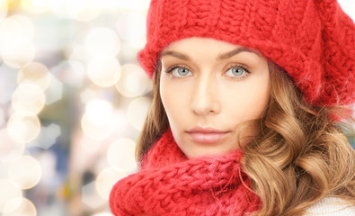 close up of young woman in winter clothes