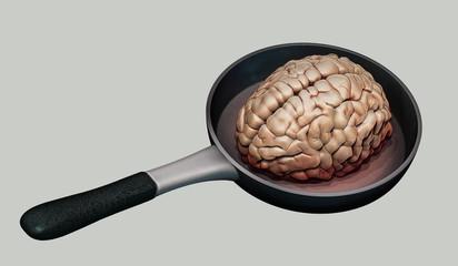 Human brain on hot pan illustration