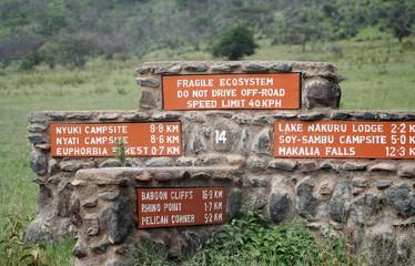 Panneaux directionnels au lac Nakuru