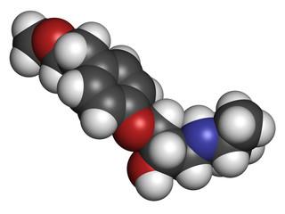 Metoprolol high blood pressure drug molecule (beta blocker).