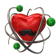 Illustration of protection. Red heart with mustaches