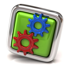 Blue and red gears on green button