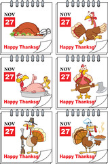 Cartoon Turkey And Happy Thanksgiving Greeting Text. Collection