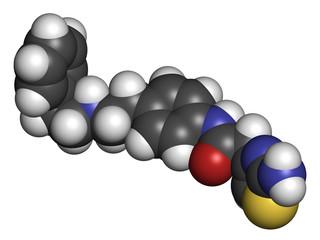 Mirabegron overactive bladder treatment drug molecule.