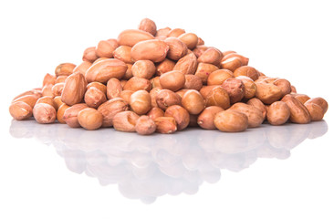 Groundnut or peanut over white background
