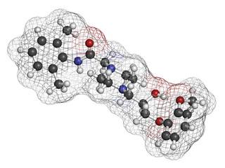 Ranolazine antianginal drug molecule.