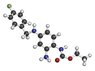 Retigabine (ezogabine) anticonvulsant drug molecule.