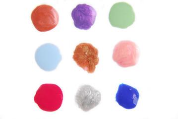 spilled sample drops enamel nail polish macro