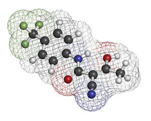 Teriflunomide multiple sclerosis (MS) drug molecule.