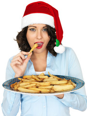 Young Woman in Santa Hat Holding a Plate of Roast Parsnips